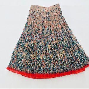 Pleated Floral Tennis Skirt